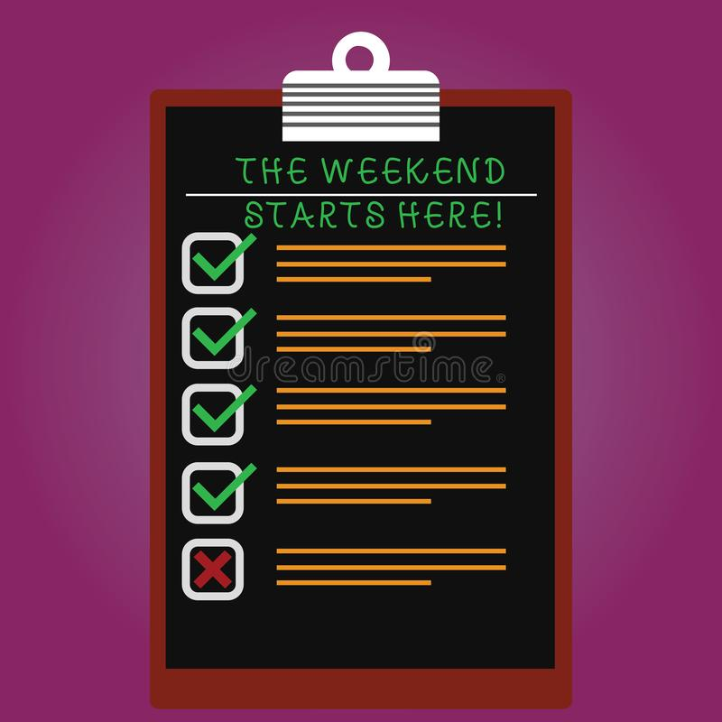 Handwriting text The Weekend Starts Here. Concept meaning Final of the week starting Friday party celebration Lined Color Vertical royalty free stock image