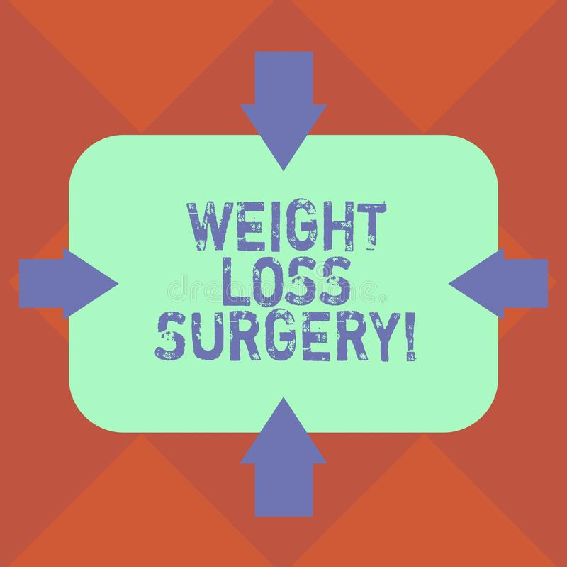 Handwriting text Weight Loss Surgery. Concept meaning do on stomach intestines to help demonstrating extreme obesity. Arrows on Four es of Blank Rectangular stock illustration