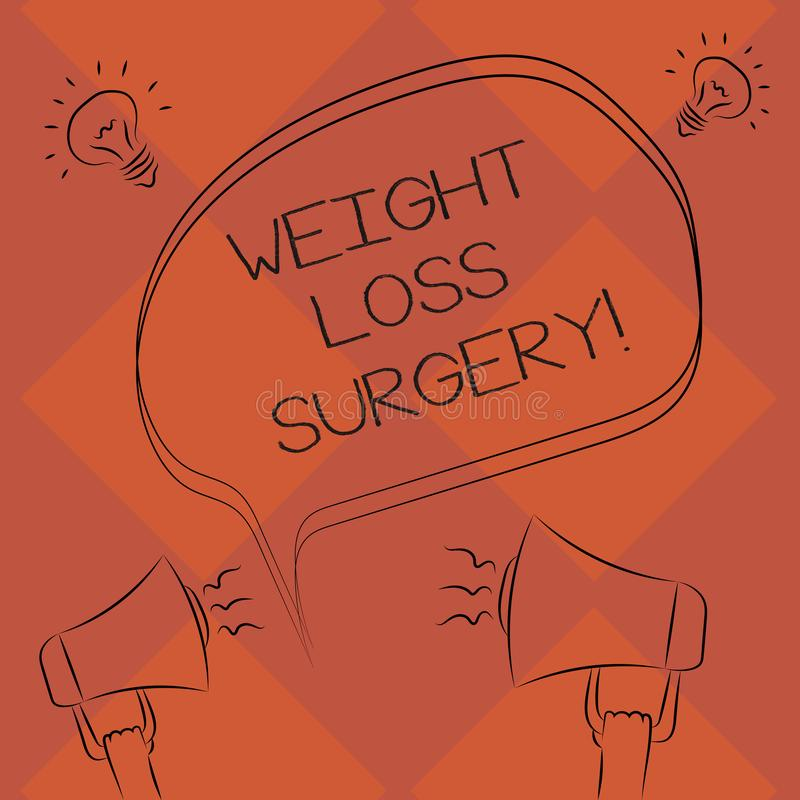 Handwriting text Weight Loss Surgery. Concept meaning do on stomach intestines to help demonstrating extreme obesity. Freehand Outline Sketch of Blank Speech royalty free illustration