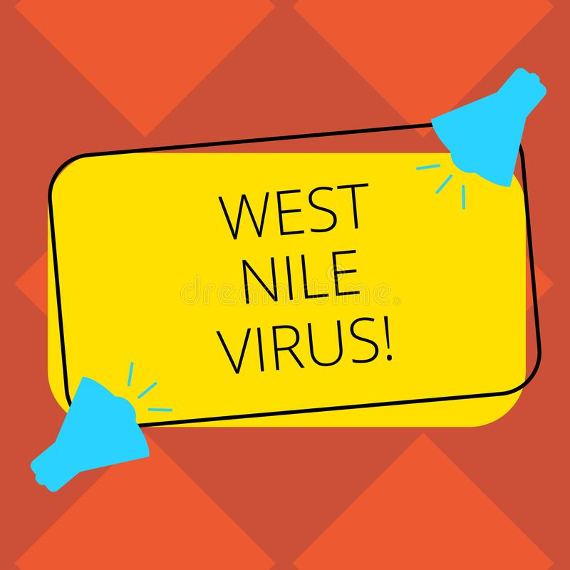 Handwriting text West Nile Virus. Concept meaning Viral infection cause typically spread by mosquitoes Two Megaphone. With Sound icon on Blank Color Outlined vector illustration