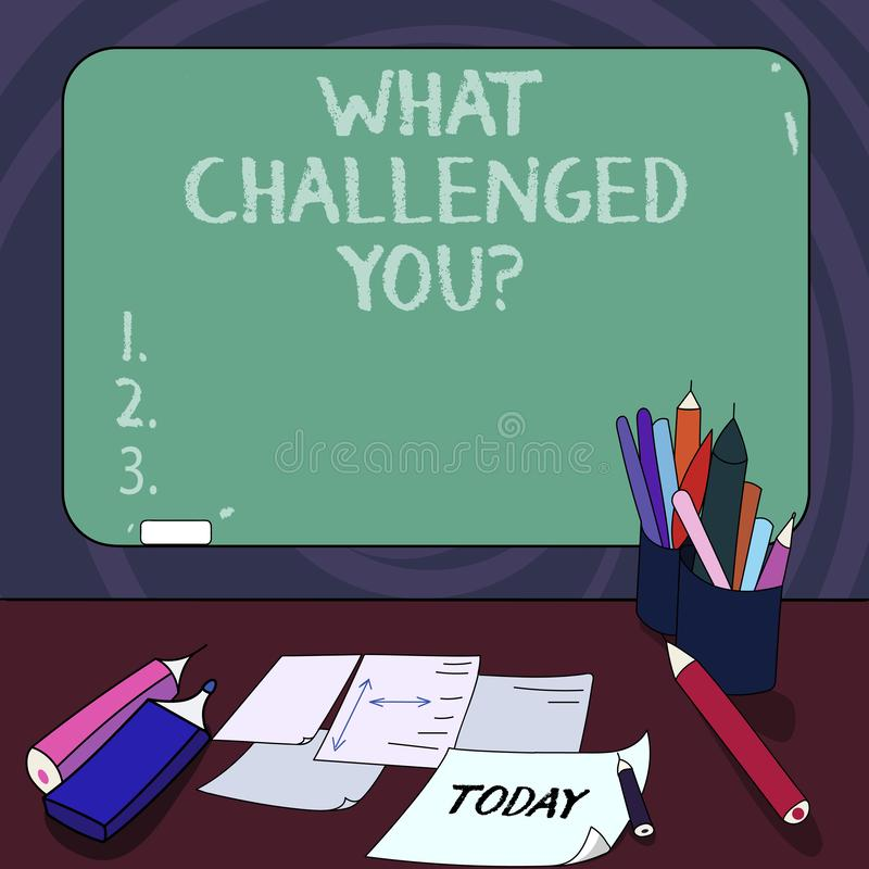 Handwriting text What Challenged You. Concept meaning call someone to participate in competitive situation Mounted Blank. Color Blackboard with Chalk and vector illustration