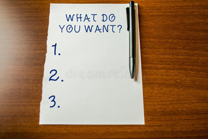 Handwriting text What Do You Want Question. Concept meaning say or write in order to ask demonstrating about something. Handwriting text What Do You Want royalty free stock photo