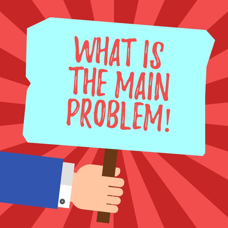 Handwriting text What Is The Main Problem. Concept meaning Identify the cause of troubles Repair work Hu analysis Hand. Holding Blank Colored Placard with Stick stock illustration