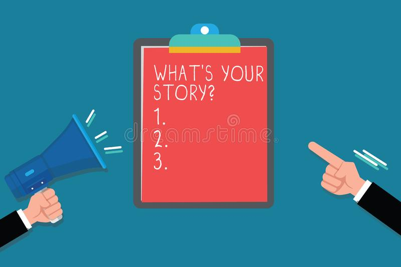 Handwriting text What s is Your Story question. Concept meaning Relate Something About YourselfAny Updates royalty free illustration