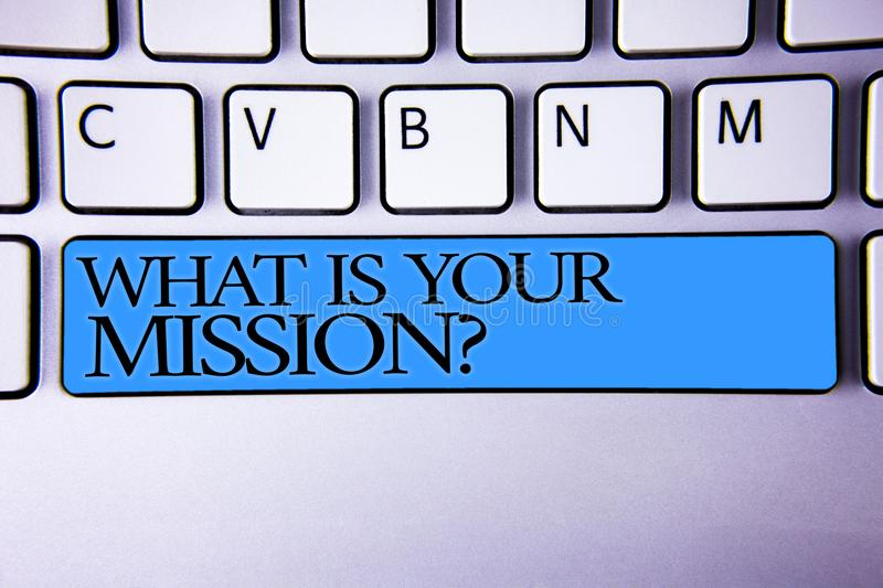 Handwriting text What Is You Mission Question. Concept meaning asking someone about his plans and to-do list Alphabetic buttons bl. Ue spacebar elementary part royalty free stock image