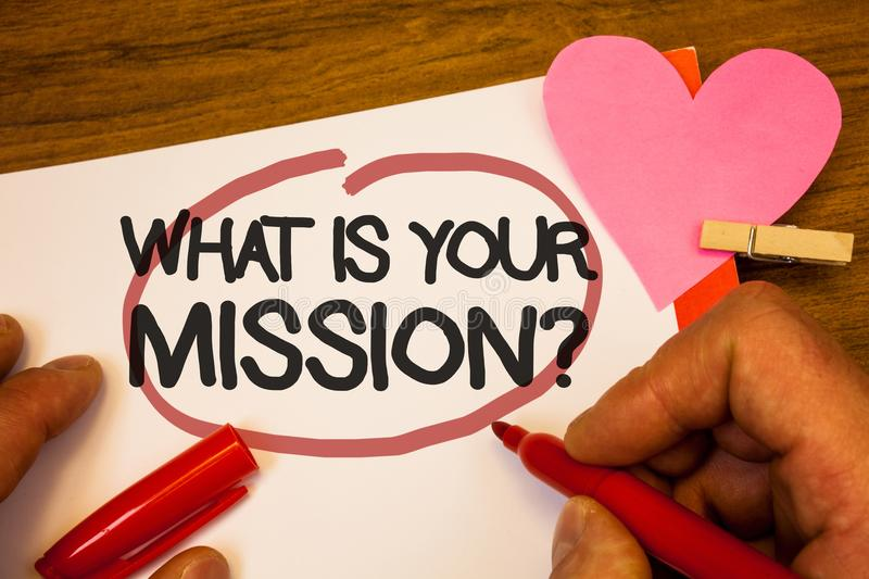 Handwriting text What Is You Mission Question. Concept meaning asking someone about his plans and to-do list Human hand retain red. Pen circled black words royalty free stock photo