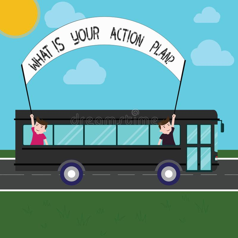 Handwriting text What Is Your Action Planquestion. Concept meaning Explain your steps for reach your goal Two Kids Inside School. Bus Holding Out Banner with royalty free stock image