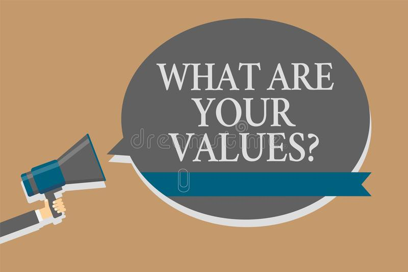 Handwriting text What Are Your Values question. Concept meaning asking someone about his good qualities Grey colour sound speaker. Multiline text message idea stock illustration