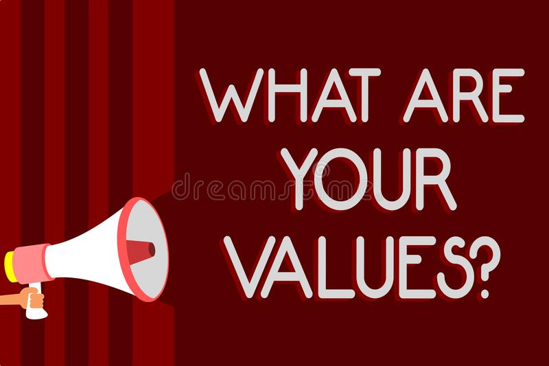 Handwriting text What Are Your Values question. Concept meaning asking someone about his good qualities Warning sound symbols spea. Ker alarming announcements royalty free illustration