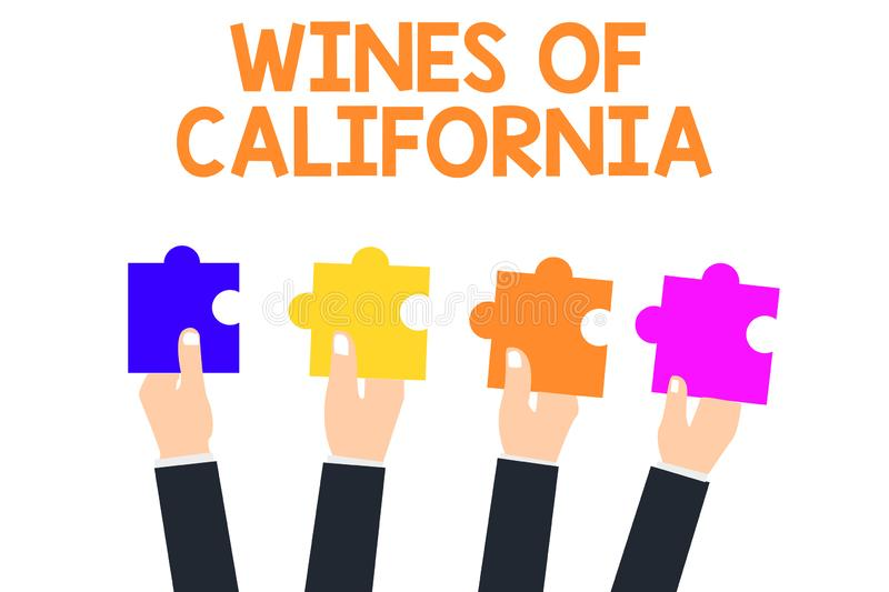 Handwriting text Wines Of California. Concept meaning Best Winemakers in the USA Export Quality Beverage.  stock illustration