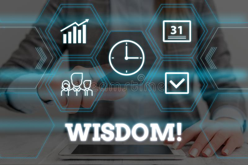Handwriting text Wisdom. Concept meaning the ability to use your knowledge and experience to make decisions Woman wear. Handwriting text Wisdom. Conceptual photo stock images