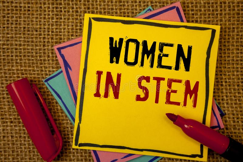 Handwriting text Women In Stem. Concept meaning Science Technology Engineering Mathematics Scientist Research. Handwriting texts Women In Stem. Concept meaning royalty free stock image