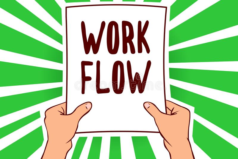 Handwriting text Work Flow. Concept meaning Continuity of a certain task to and from an office or employer Man holding paper impor. Tant message remarkable green stock illustration