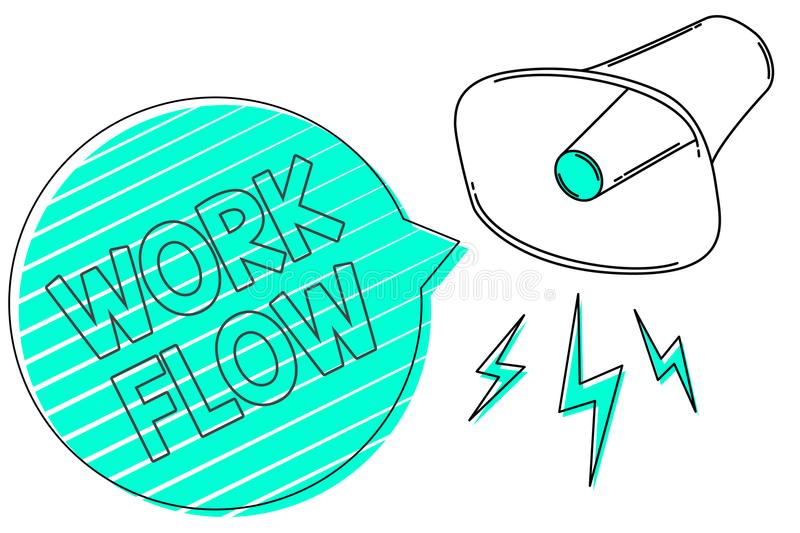 Handwriting text Work Flow. Concept meaning Continuity of a certain task to and from an office or employer Megaphone loudspeaker g. Reen speech bubble stripes vector illustration