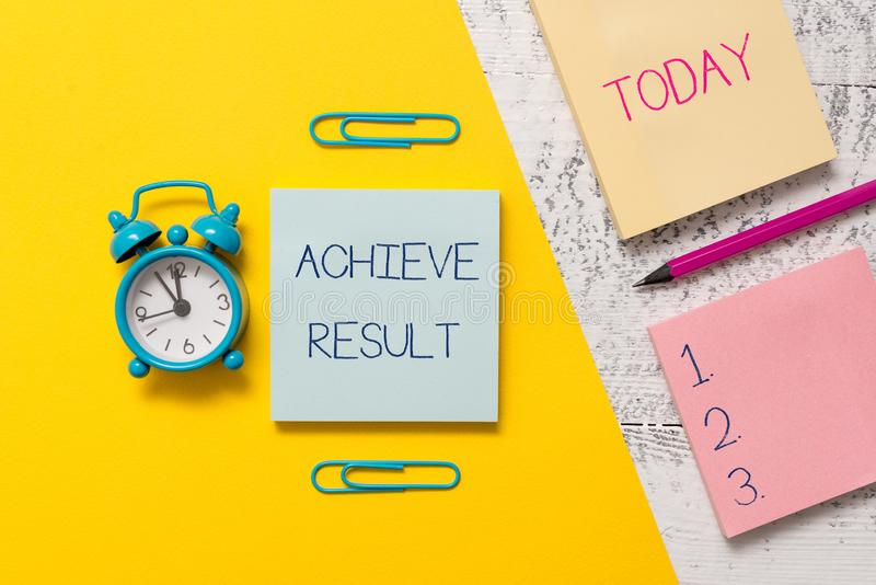Handwriting text writing Achieve Result. Concept meaning Accomplishment Attain Bring to a successful conclusion Notepads. Handwriting text writing Achieve Result stock photos