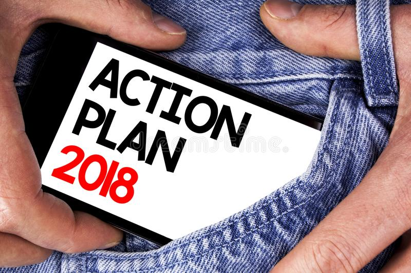 Handwriting text writing Action Plan 2018. Concept meaning to do list in new year New year resolution goals Targets written on Mob. Handwriting text writing stock images