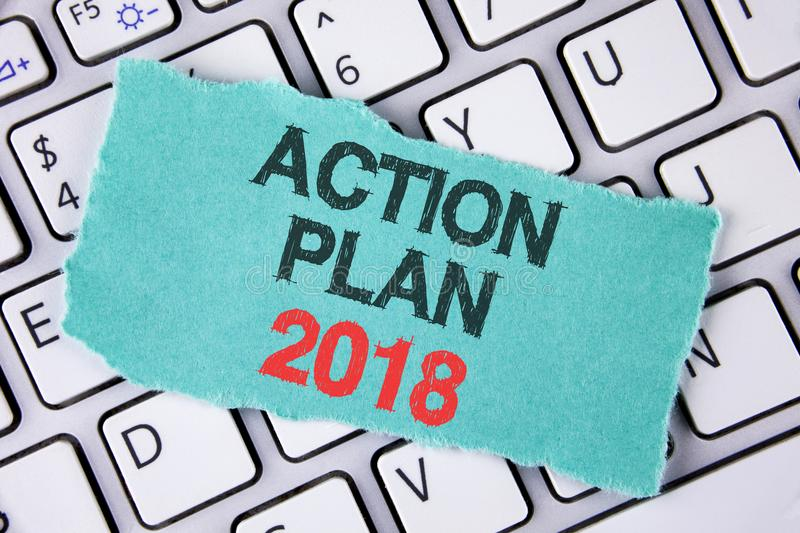 Handwriting text writing Action Plan 2018. Concept meaning to do list in new year New year resolution goals Targets written on tea. Handwriting text writing royalty free stock photography
