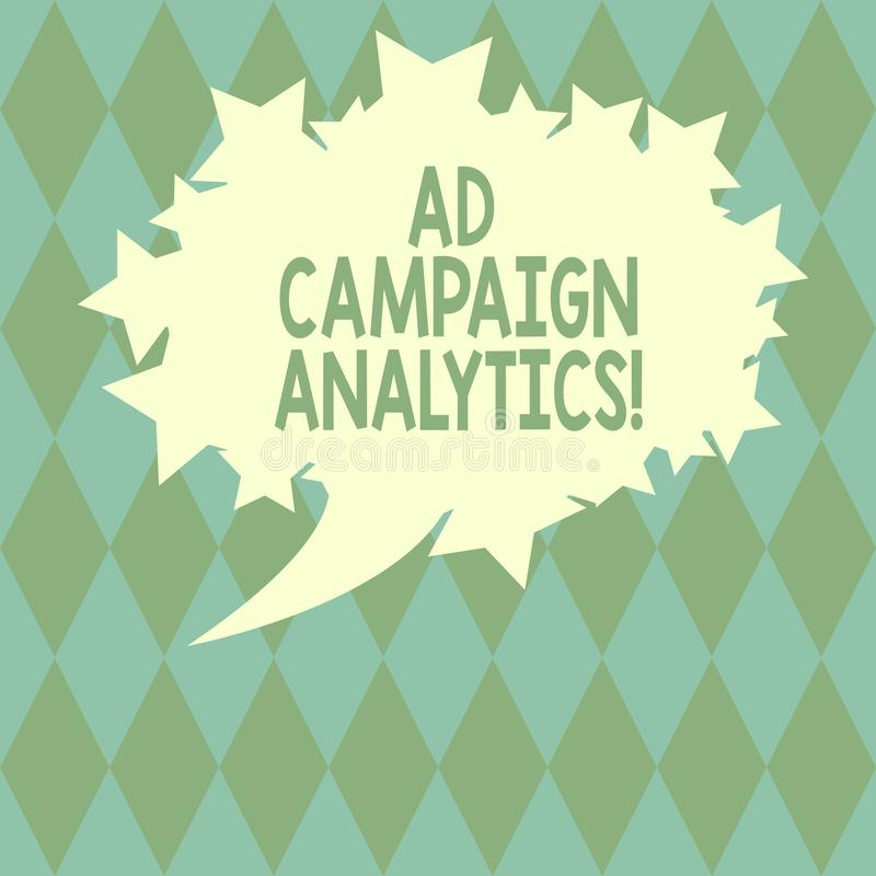 Handwriting text writing Ad Campaign Analytics. Concept meaning monitor campaigns and their respective outcomes Blank. Oval Color Speech Bubble with Stars as vector illustration
