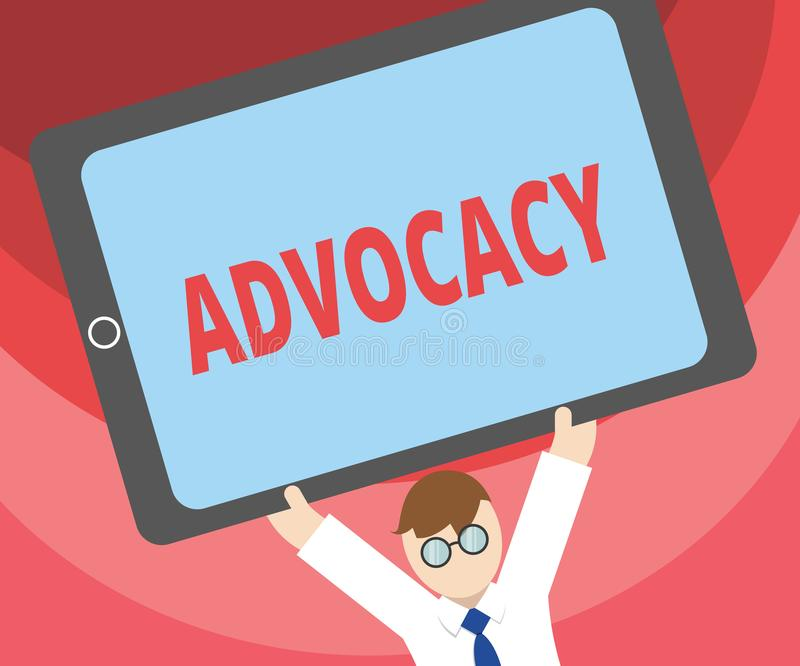 Handwriting text writing Advocacy. Concept meaning Profession of legal advocate Lawyer work Public recommendation.  royalty free illustration