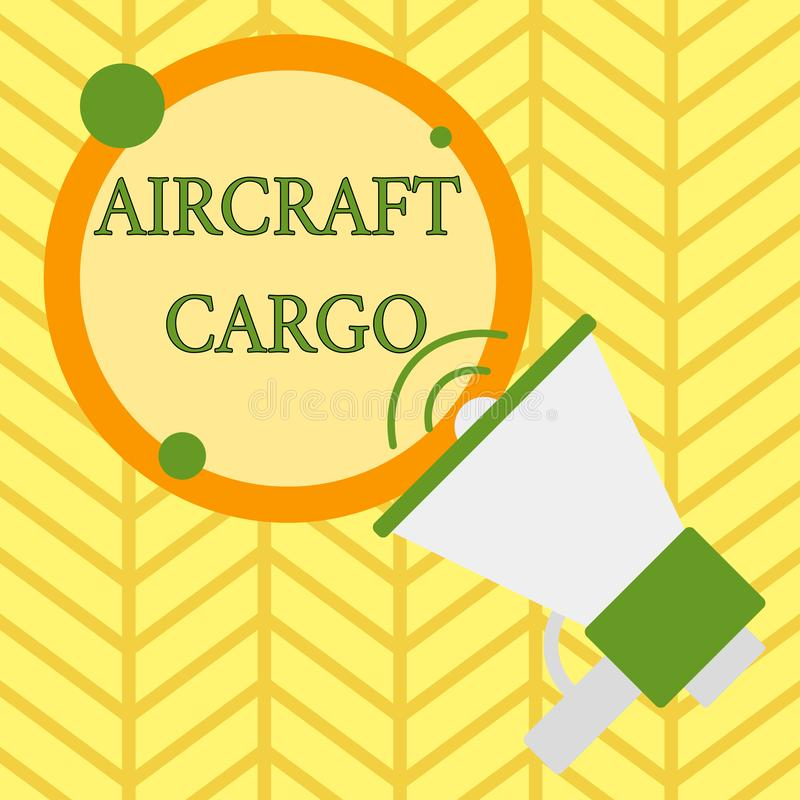 Handwriting text writing Aircraft Cargo. Concept meaning Freight Carrier Airmail Transport goods through airplane. Handwriting text writing Aircraft Cargo royalty free illustration