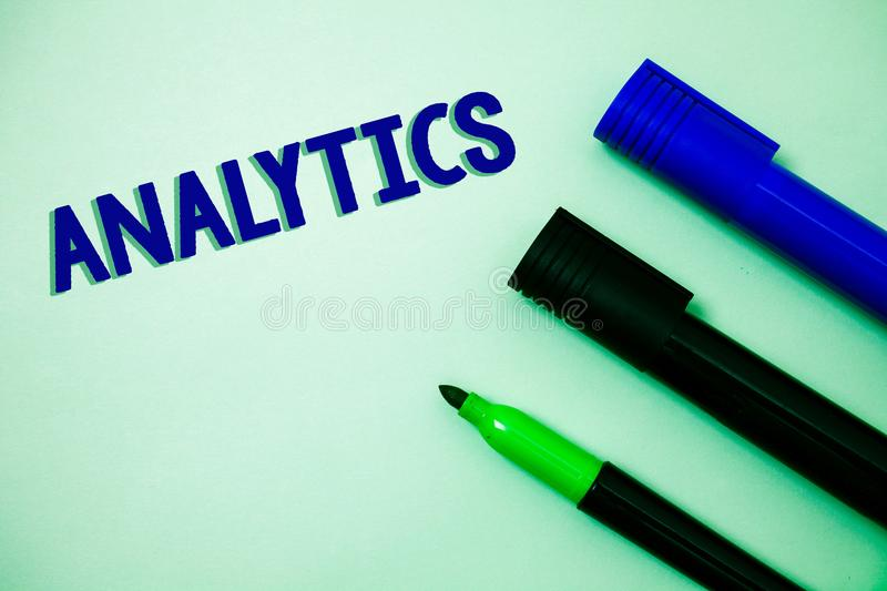 Handwriting text writing Analytics. Concept meaning Data Analysis Financial Information Statistics Report Dashboard Ideas messages. Feelings intentions royalty free stock photography