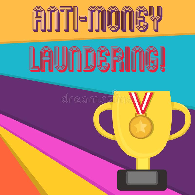 Handwriting text writing Anti Money Laundering. Concept meaning regulations stop generating income through illegal. Handwriting text writing Anti Money royalty free illustration