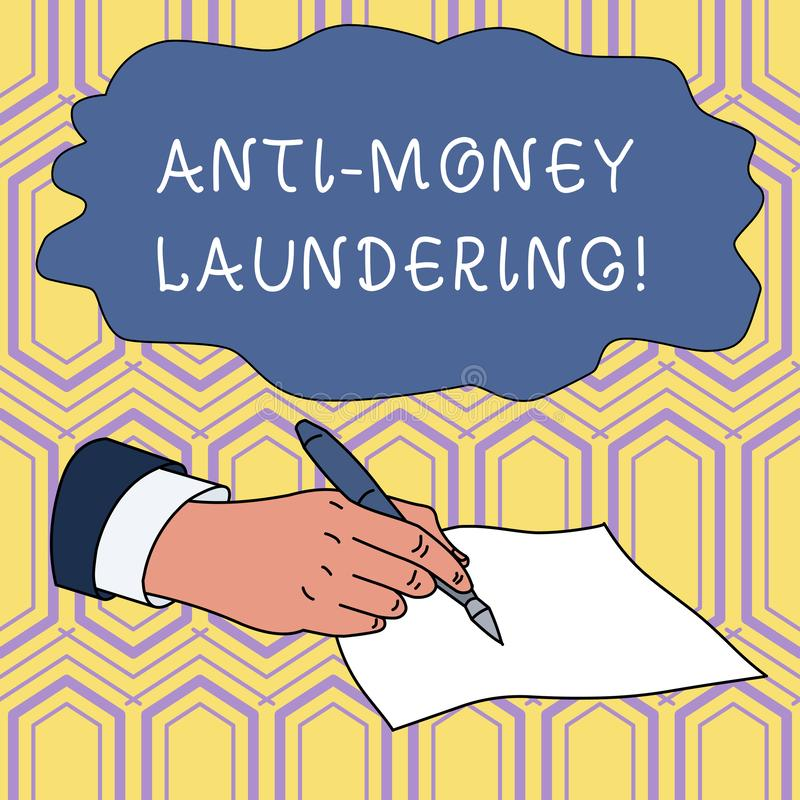 Handwriting text writing Anti Money Laundering. Concept meaning regulations stop generating income through illegal. Handwriting text writing Anti Money stock illustration