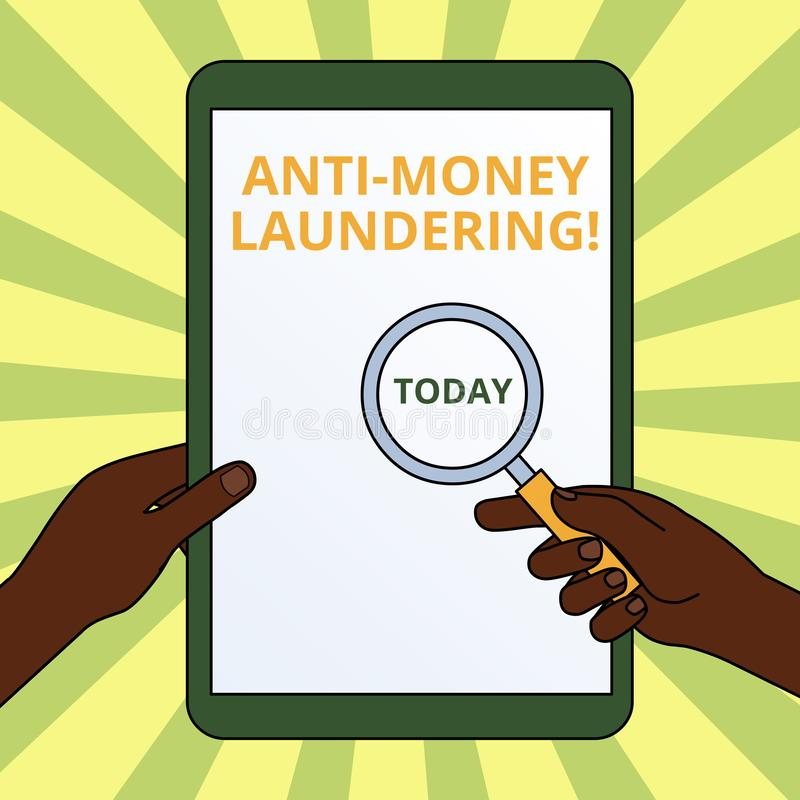 Handwriting text writing Anti Money Laundering. Concept meaning stop generating income through illegal actions Hands. Handwriting text writing Anti Money vector illustration