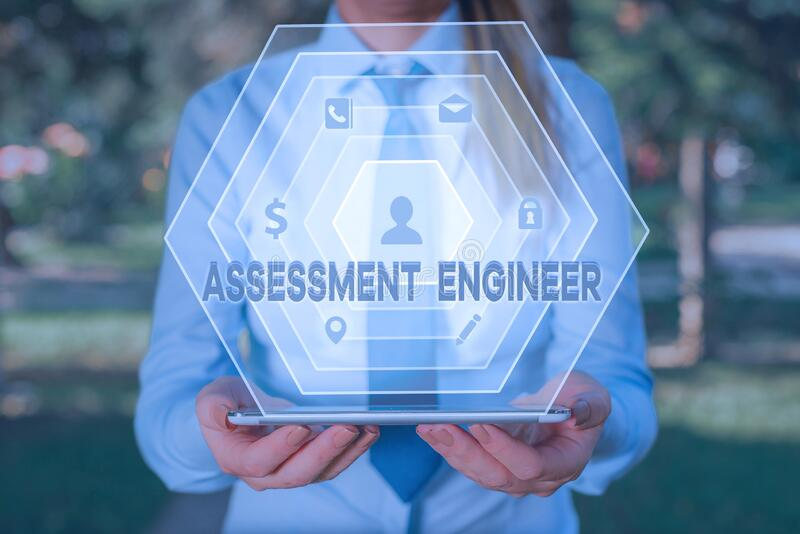 Handwriting text writing Assessment Engineer. Concept meaning gives solutions to the complexities of developing tests. royalty free stock images