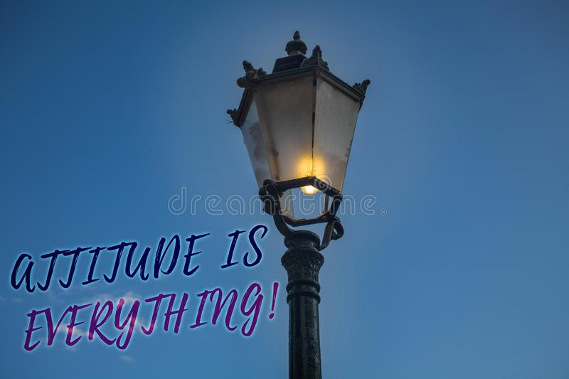 Handwriting text writing Attitude Is Everything. Concept meaning Personal Outlook Perspective Orientation Behavior Light post blue. Sky enlighten ideas message royalty free stock images