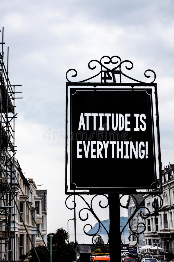 Handwriting text writing Attitude Is Everything. Concept meaning Personal Outlook Perspective Orientation Behavior Vintage black b. Oard white letters words royalty free stock photos