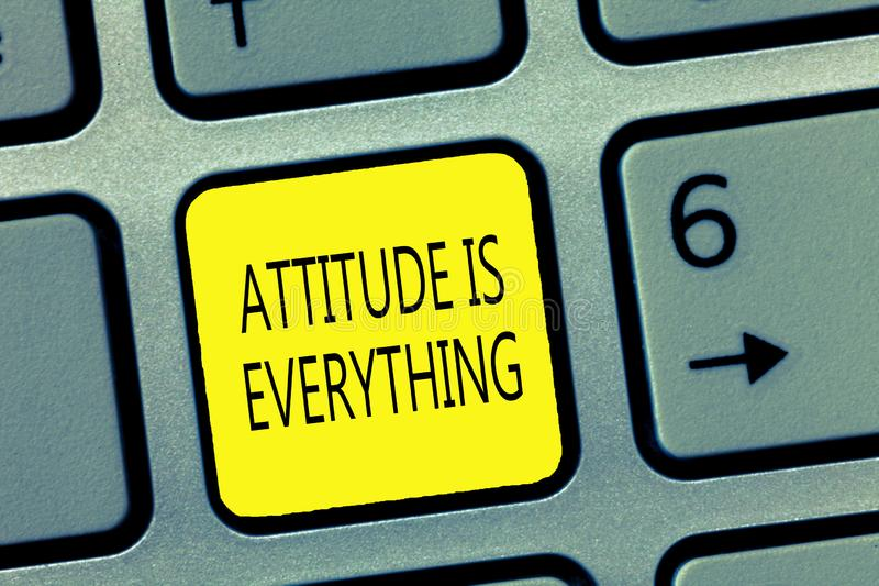 Handwriting text writing Attitude Is Everything. Concept meaning Positive Outlook is the Guide to a Good Life.  royalty free stock photos