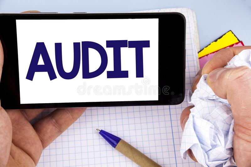 Handwriting text writing Audit. Concept meaning Local company auditors perform their financial investigation annually written on M. Handwriting text writing royalty free stock image
