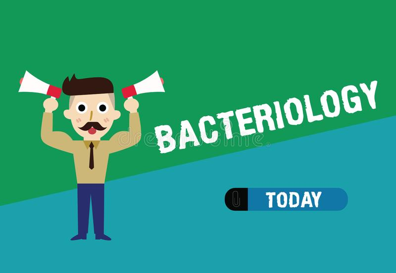 Handwriting text writing Bacteriology. Concept meaning Branch of microbiology dealing with bacteria and their uses.  stock illustration
