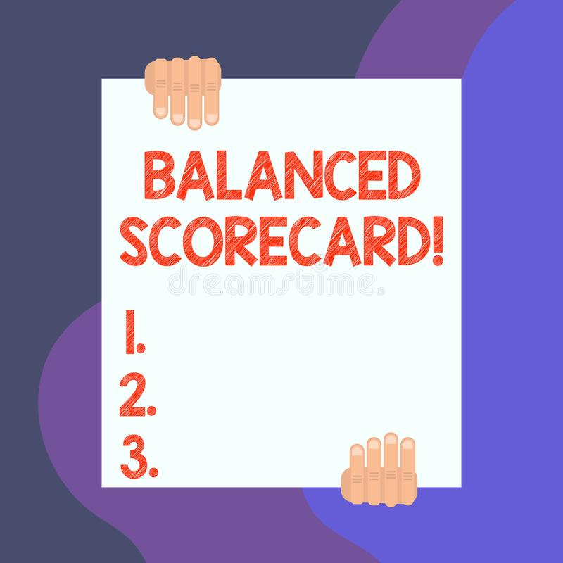 Handwriting text writing Balanced Scorecard. Concept meaning a perforanalysisce metric used in strategic analysisagement. Handwriting text writing Balanced stock illustration