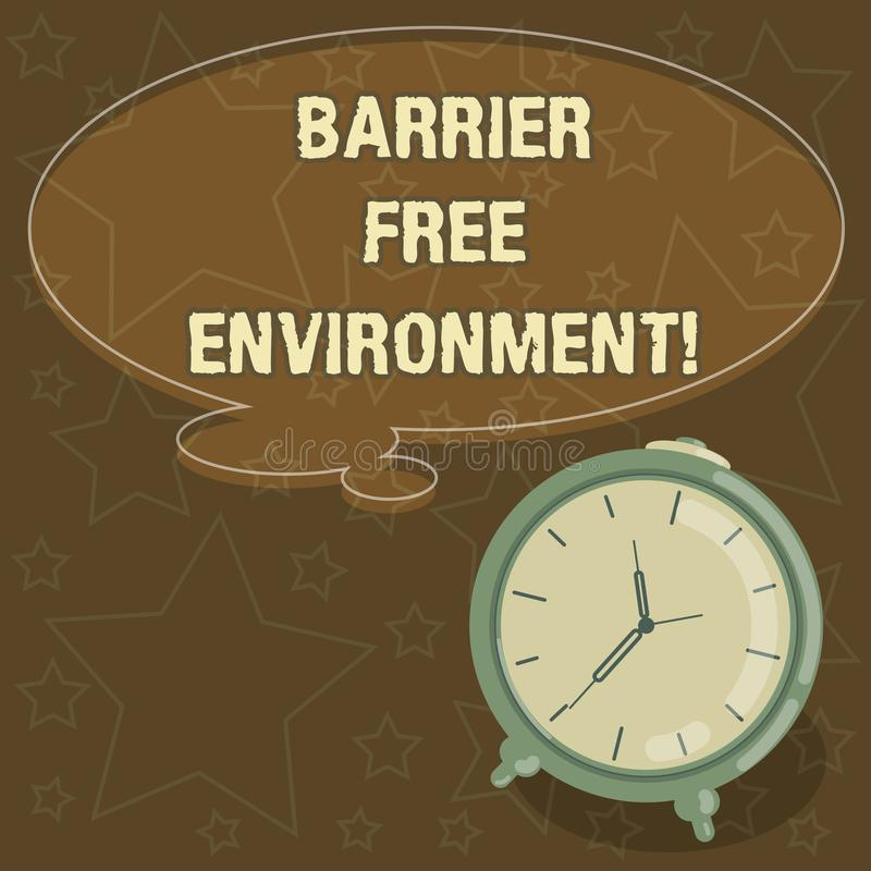Handwriting text writing Barrier Free Environment. Concept meaning free of potential obstacles to individuals Blank Color Thought. Speech Bubble with Outline vector illustration