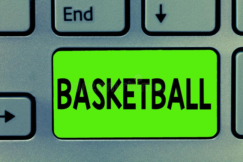 Handwriting text writing Basketball. Concept meaning Sport Indoors court game Competition throw ball to open net.  royalty free stock photo