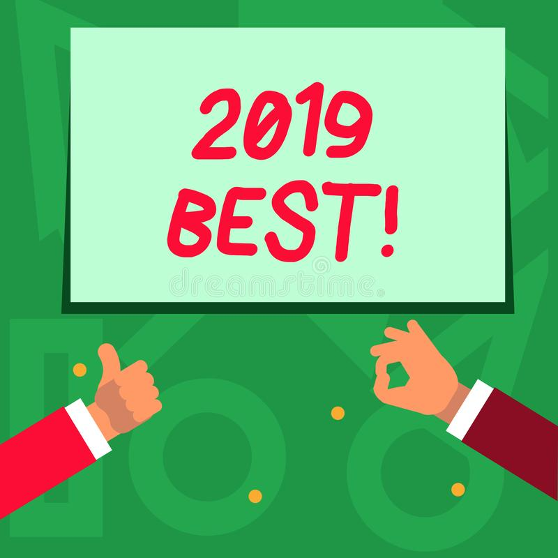 Handwriting text writing 2019 Best. Concept meaning that which most excellent outstanding or desirable this year Two. Handwriting text writing 2019 Best stock illustration