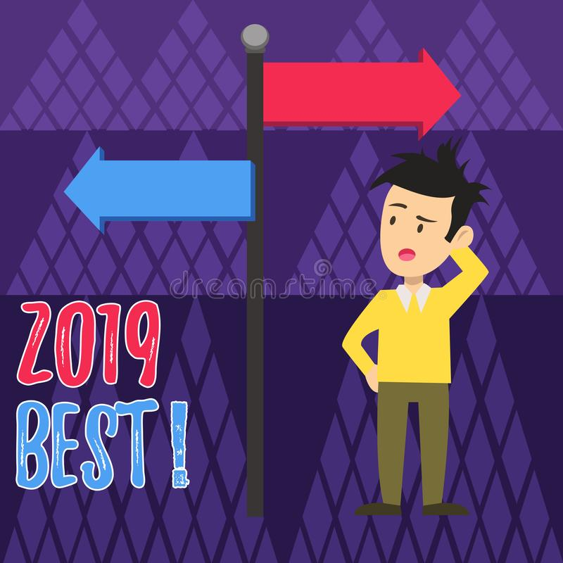 Handwriting text writing 2019 Best. Concept meaning that which most excellent outstanding or desirable this year Man. Handwriting text writing 2019 Best stock illustration