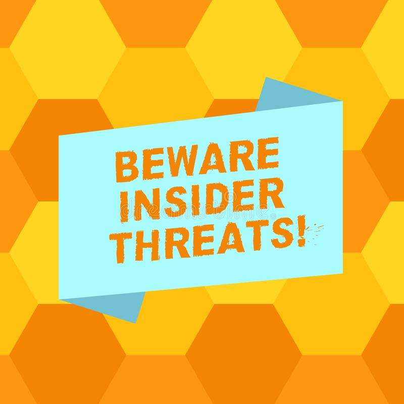 Handwriting text writing Beware Insider Threats. Concept meaning Be cautious on malicious attack inside the network. Blank Color Folded Banner Strip Flat Style royalty free illustration