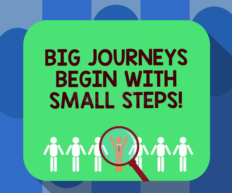 Handwriting text writing Big Journeys Begin With Small Steps. Concept meaning One step at a time to reach your goals. Magnifying Glass Over Chosen Man Figure stock illustration