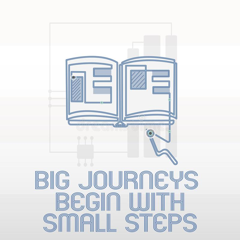 Handwriting text writing Big Journeys Begin With Small Steps. Concept meaning Start up a new business venture.  vector illustration