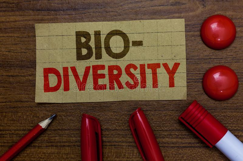 Handwriting text writing Bio Diversity. Concept meaning Variety of Life Organisms Marine Fauna Ecosystem Habitat Paperboard marker. S pencil wooden background stock images