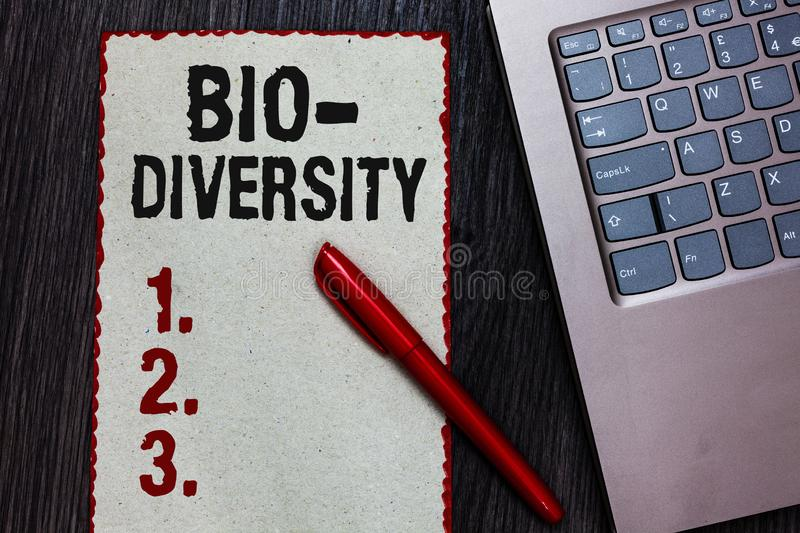 Handwriting text writing Bio Diversity. Concept meaning Variety of Life Organisms Marine Fauna Ecosystem Habitat Piece paper red b. Orders black marker computer stock photos