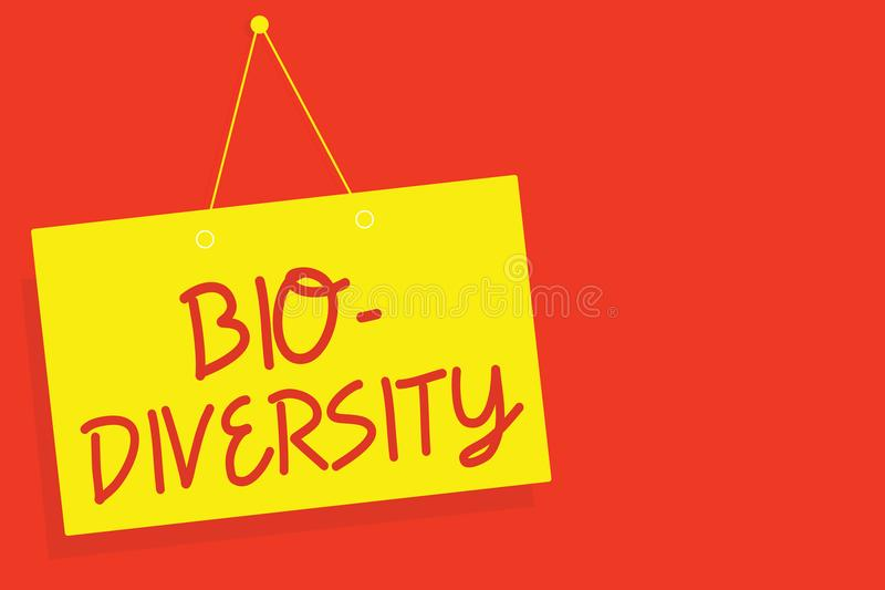 Handwriting text writing Bio Diversity. Concept meaning Variety of Life Organisms Marine Fauna Ecosystem Habitat Yellow board wall. Message communication open stock photography