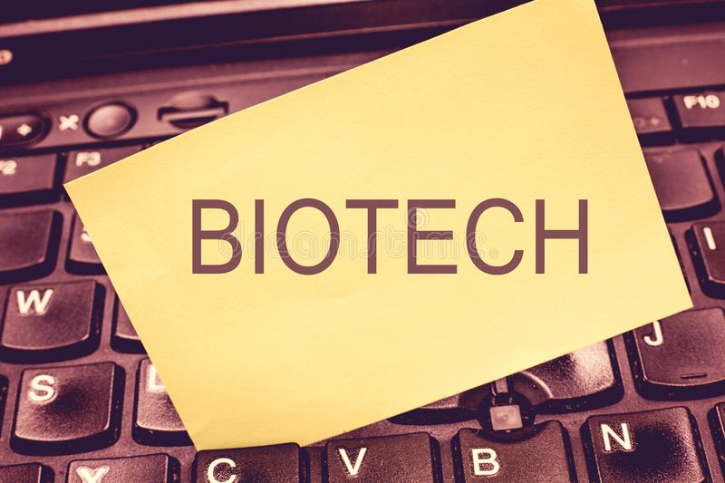 Handwriting text writing Biotech. Concept meaning Study Analysis biological processes Genetic manipulation Science.  stock image