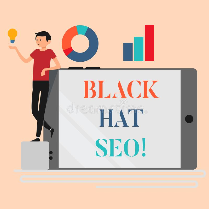 Handwriting text writing Black Hat Seo. Concept meaning Search Engine Optimization using techniques to cheat browsers. Handwriting text writing Black Hat Seo stock illustration