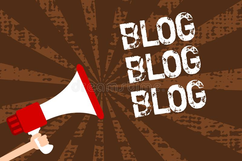 Handwriting text writing Blog Blog Blog. Concept meaning Internet blogging trend modern virtual communication Man holding megaphon royalty free stock images