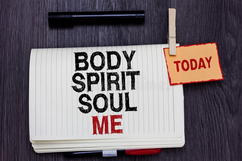 Handwriting text writing Body Spirit Soul Me. Concept meaning Personal Balance Therapy Conciousness state of mind Written paper on royalty free stock photo