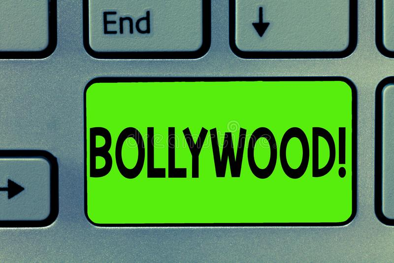Handwriting text writing Bollywood. Concept meaning Indian popular film movies industry Mumbai Cinematography.  stock photo